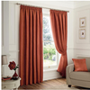Faux Suede Blackout Pencil Pleat Curtains - Spice