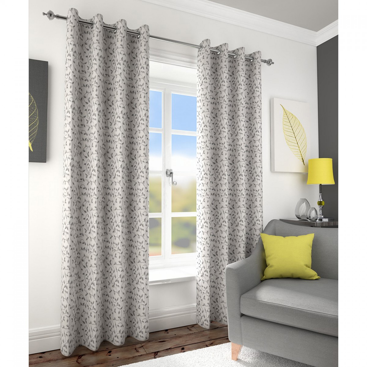 Folia Jacquard Lined Eyelet Curtains - Charcoal
