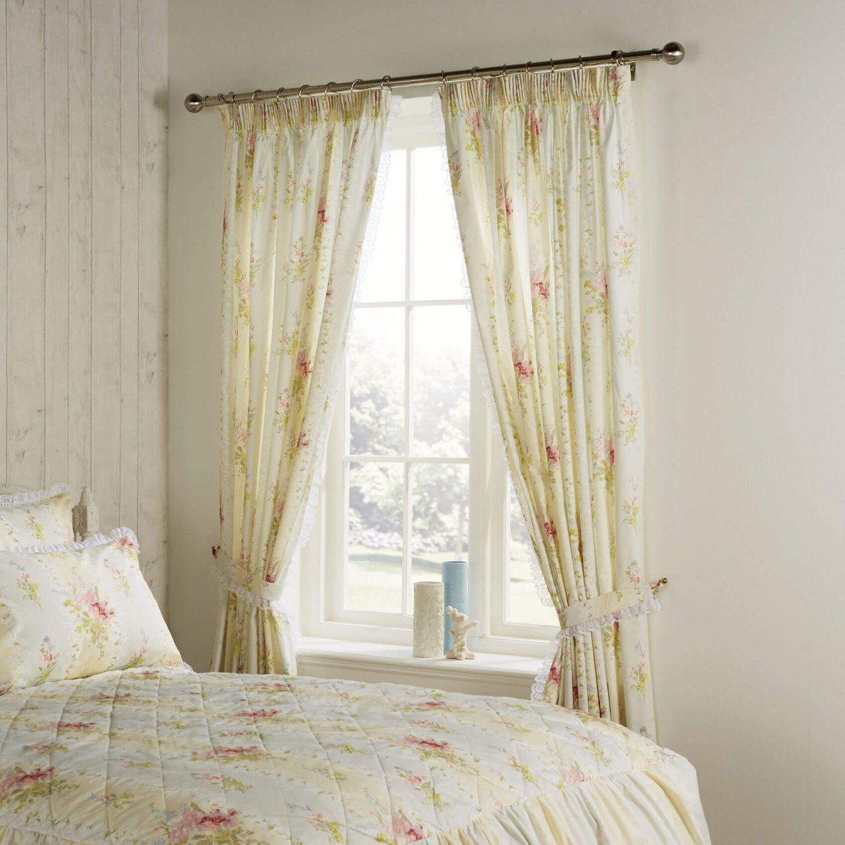 Vantona Country Marielle Pencil Pleat Curtains and Tiebacks - Cream - 66 x 72