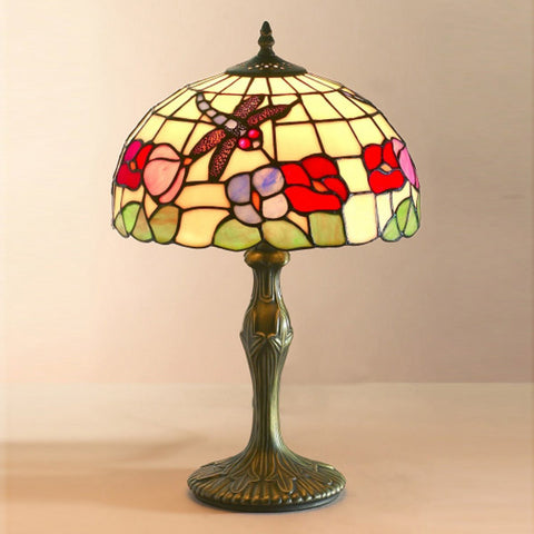 Tiffany Medium Dragonfly Shade Antique Brass Table Lamp - 30cms