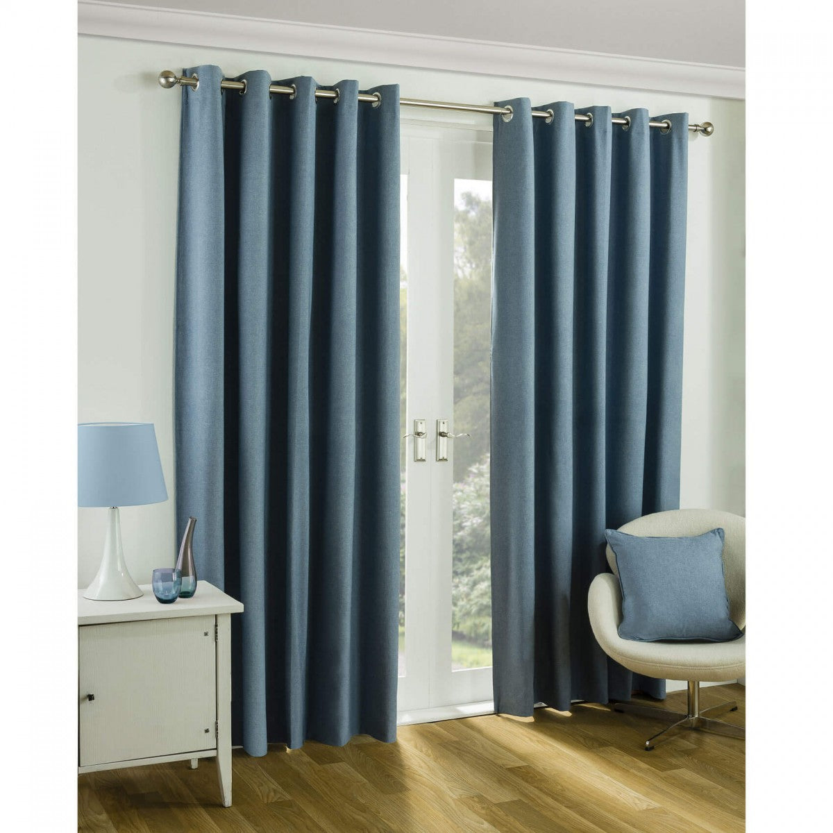 Sundour Twilight Eyelet Blackout Ready Made Curtains - Blue