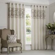 Rialto Leaf Embroidered Band Lined Eyelet Curtains - Natural