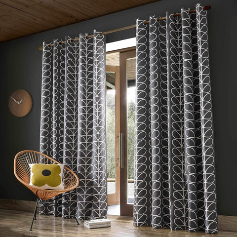 Orla Kiely Linear Stem Lined Eyelet Curtains - Charcoal