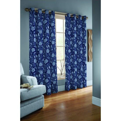 Opus Eyelet Lined 100% Cotton Curtains Ready Made - Sarassa Blue