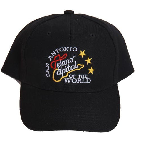 San Antonio Capital Of The World Guitar and Stars Black Cap