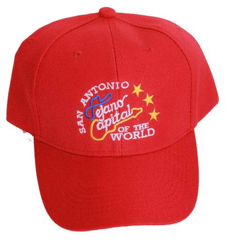 San Antonio Tejano Music Capital Of The World Guitar with stars Red Cap