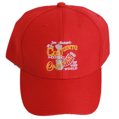 San Antonio Tejano Music Capital Of The World Accordion Red/Yelllow Letters Cap