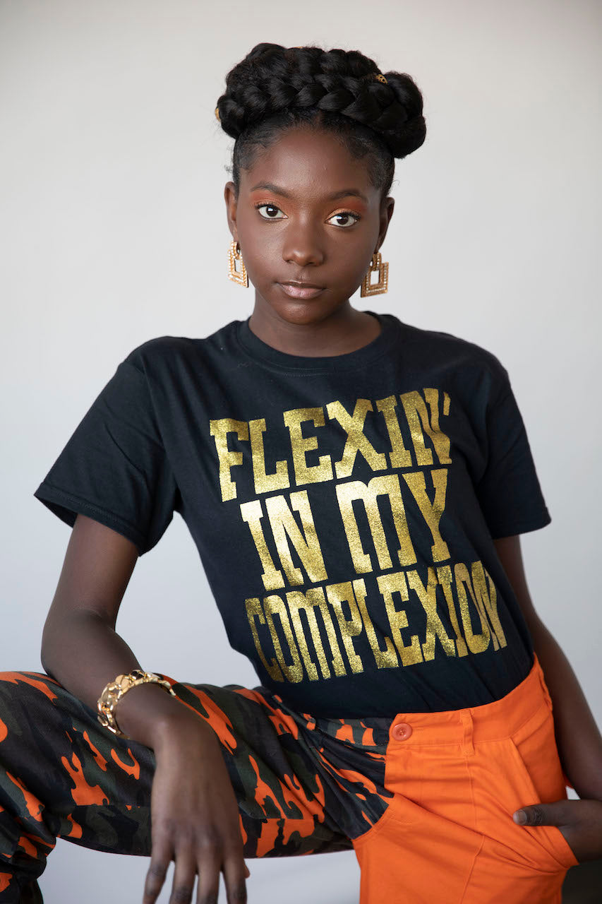 Flexin' In My Complexion Tee: Black & Gold