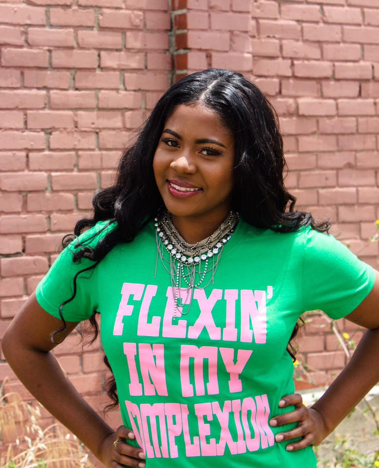 Flexin' In My Complexion Tee: Green & Pink