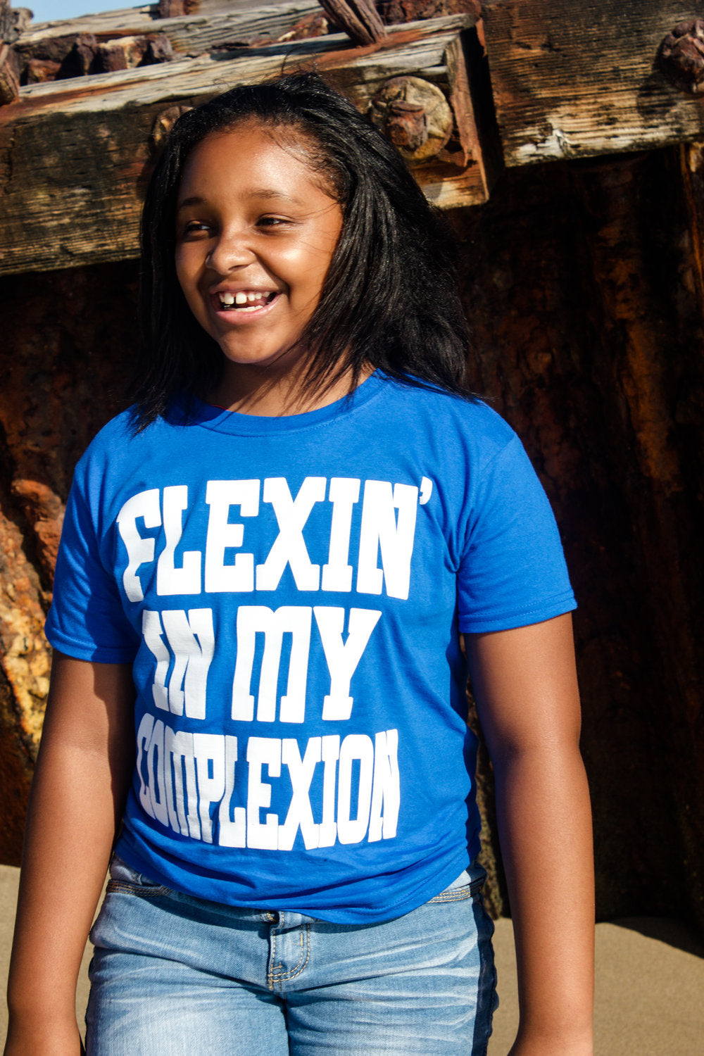 Flexin' In My Complexion Tee: Blue & White