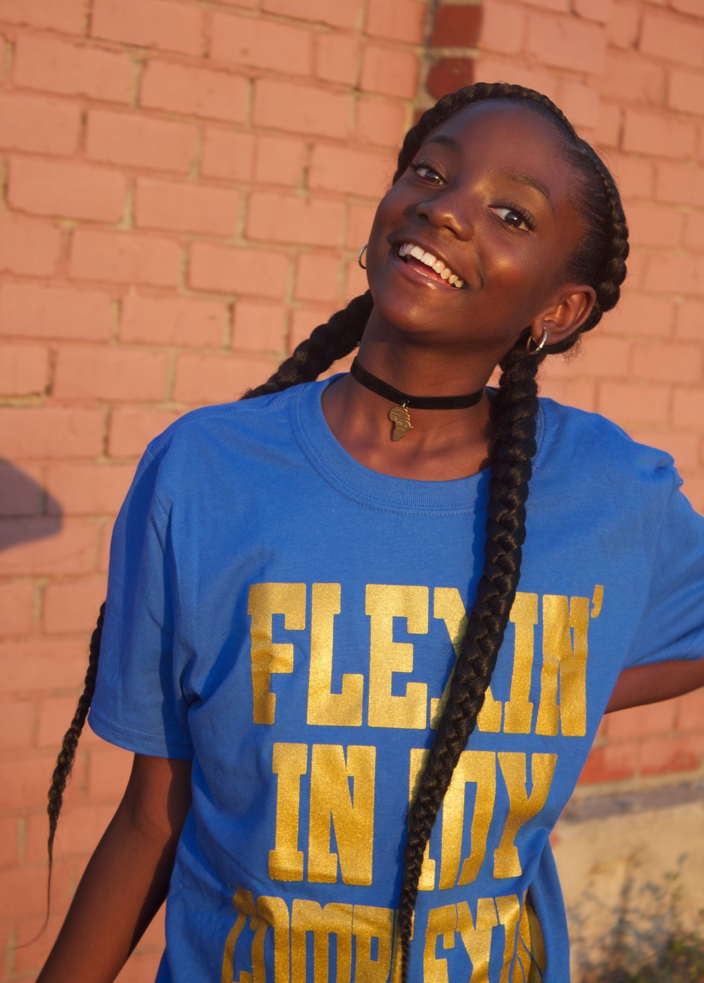 Flexin' In My Complexion Tee: Blue & Gold