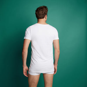 Basic men T-shirt long 2 pack 30848 001 white