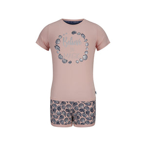Girls short set 41C-35018 P71/05 Powder pink / aop