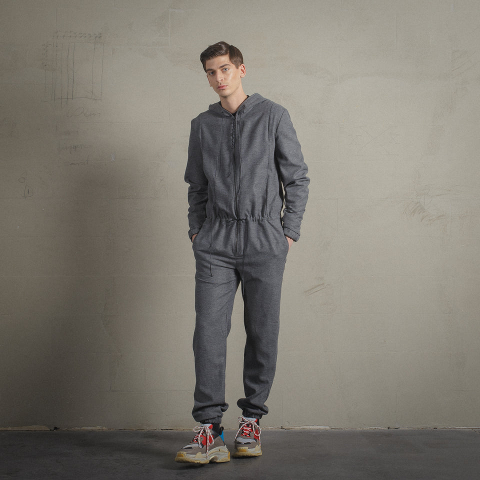 GREY HOODED OVERALL