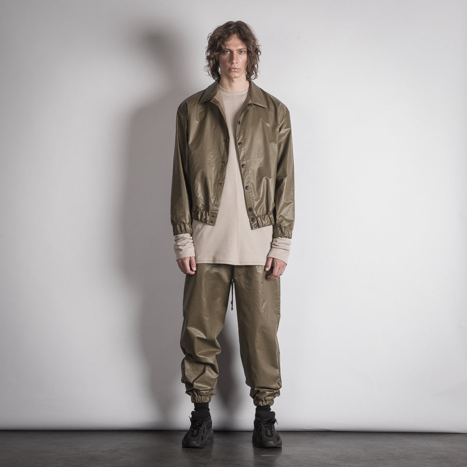 OLIVE WAXED TROUSERS
