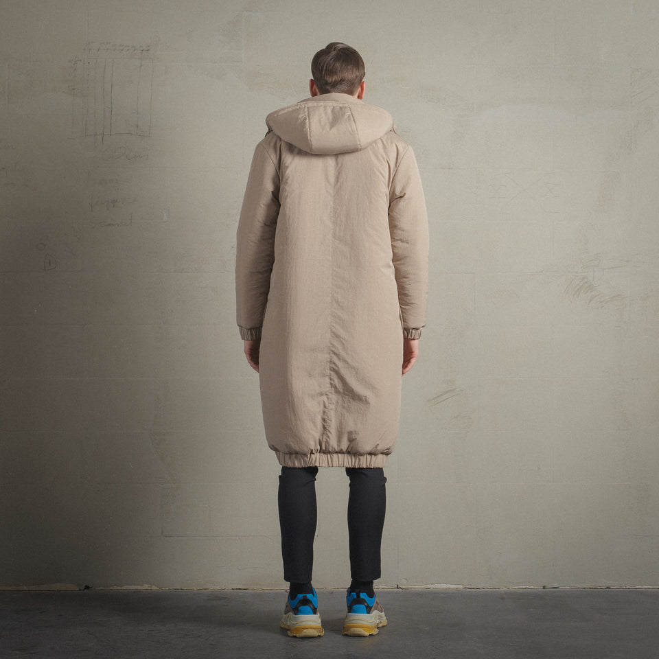 BEIGE / BLACK RECYCLED PE REVERSIBLE COAT