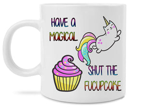 Funny Unicorn Cupcake Shut The Fucupcakes Rainbow 11 Ounce Novelty Coffee Mug