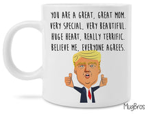 Funny Great Mom and Dad Donald Trump Novelty Prank Gift 11 Ounce Coffee Mugs