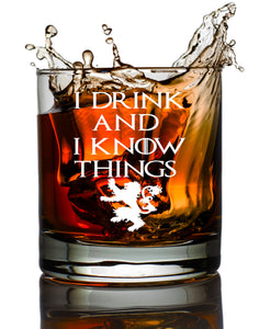 Game of Thrones I Drink and Know Things Old Fashioned Rocks Scotch Whiskey Wine Beer Glass