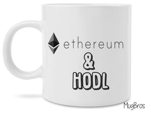 Ethereum and Hodl Logo Crypto Currency Coffee Mug