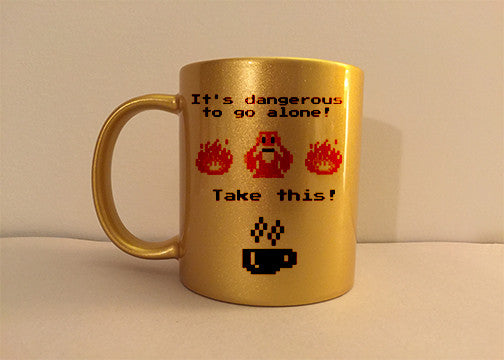 Zelda It's Dangerous to Go Alone Metallic Gold Mug