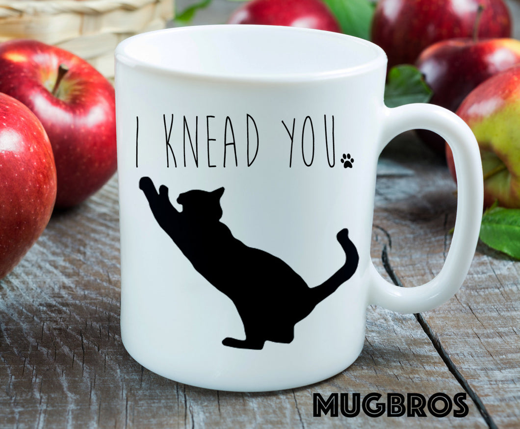 I Knead You Cute coffee mug, cat mug, novelty coffee mug, coffee, gifts under 20, gift for her, coffee cup, kneading cat, crazy cat lady
