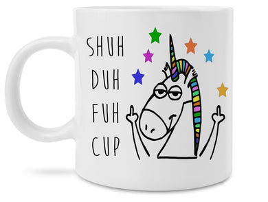 Funny Unicorn Middle Fingers Shuh Duh Fuh Cup Novelty Prank 11 Ounce Coffee Mug