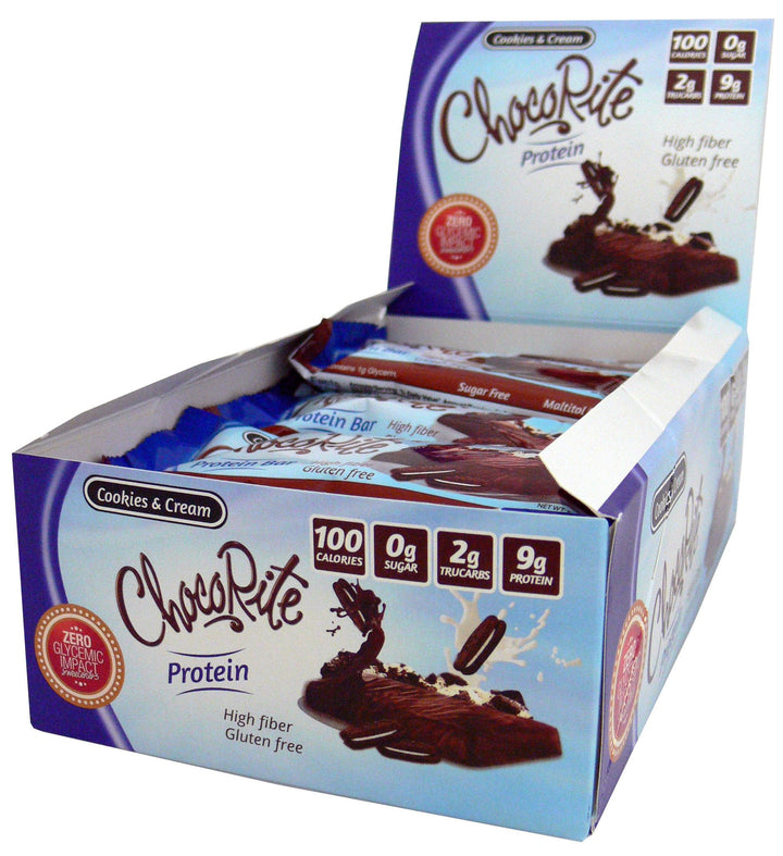 ChocoRite Cookies & Cream Protein Bars 100 Calorie 9g Protein