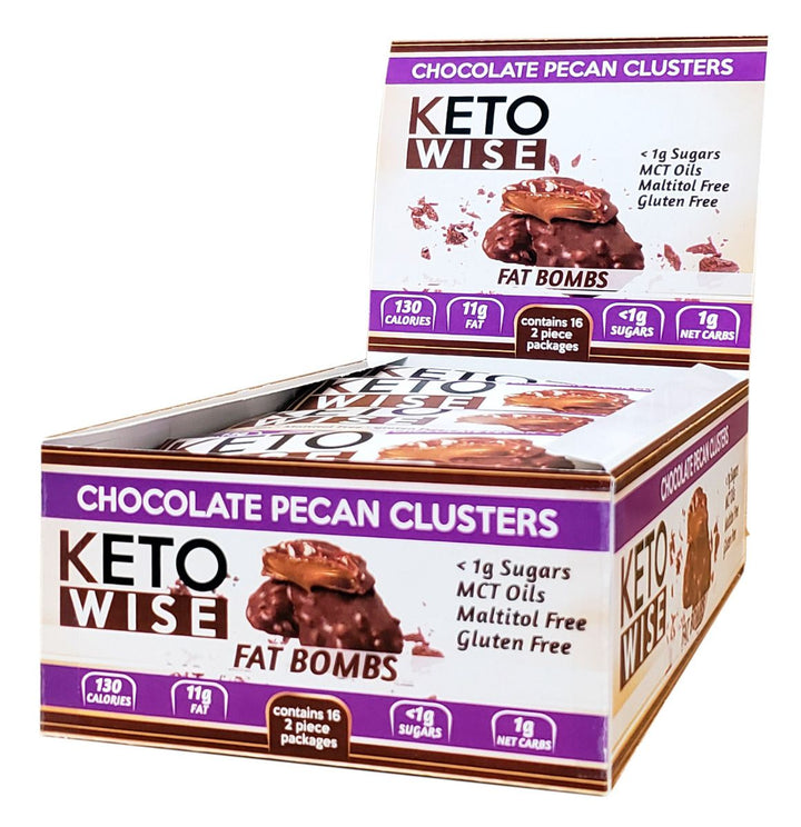 Keto Wise Fat Bombs Chocolate Pecan Cluster