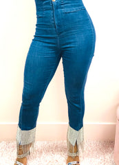 Dripping Diamonds High Waisted Jeans