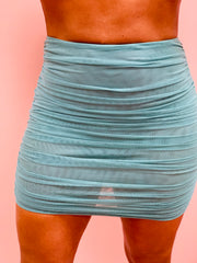 Meshin With Me Ruched Skirt Ocean Color