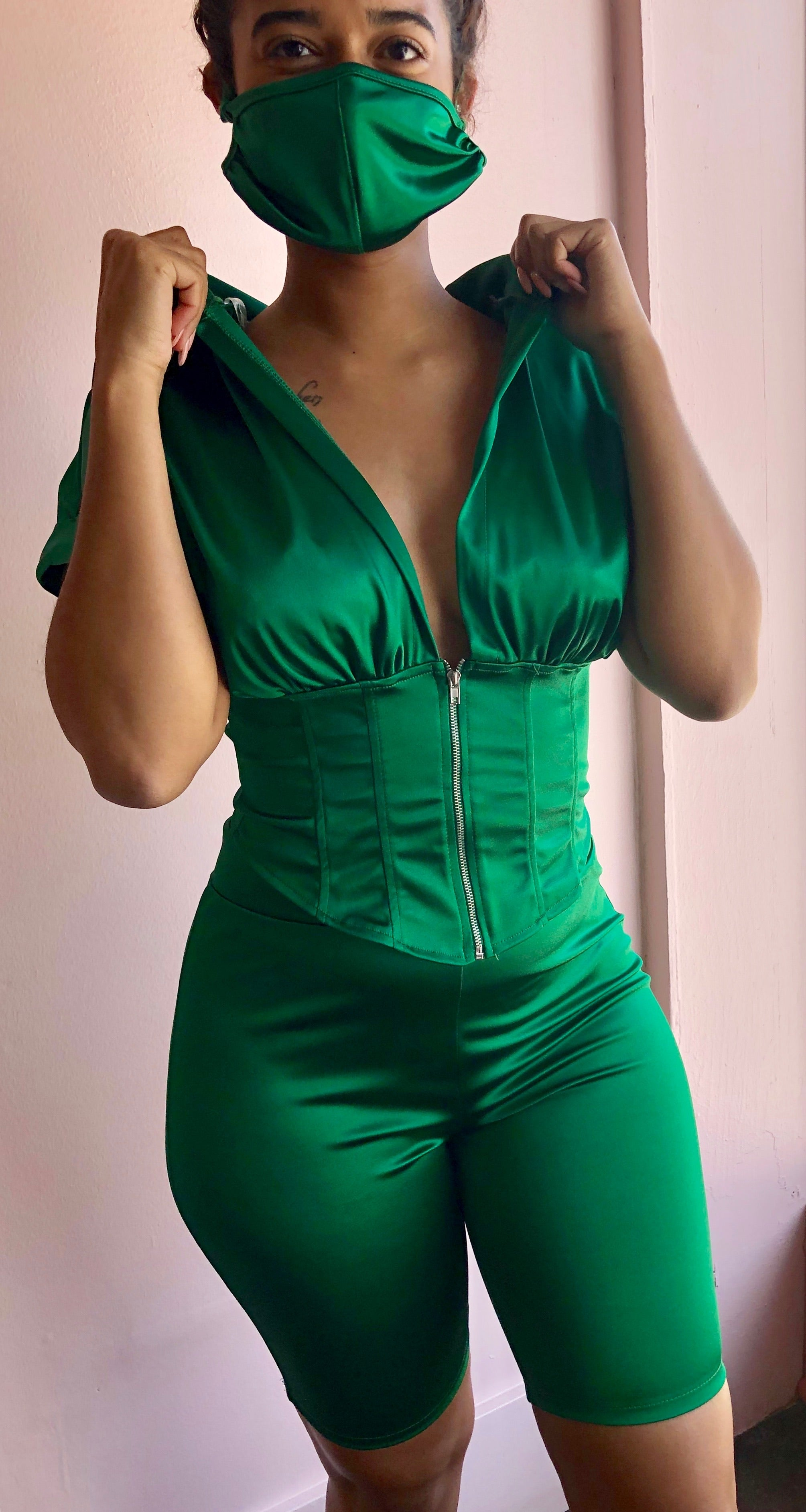 Green Silk Two Piece Set