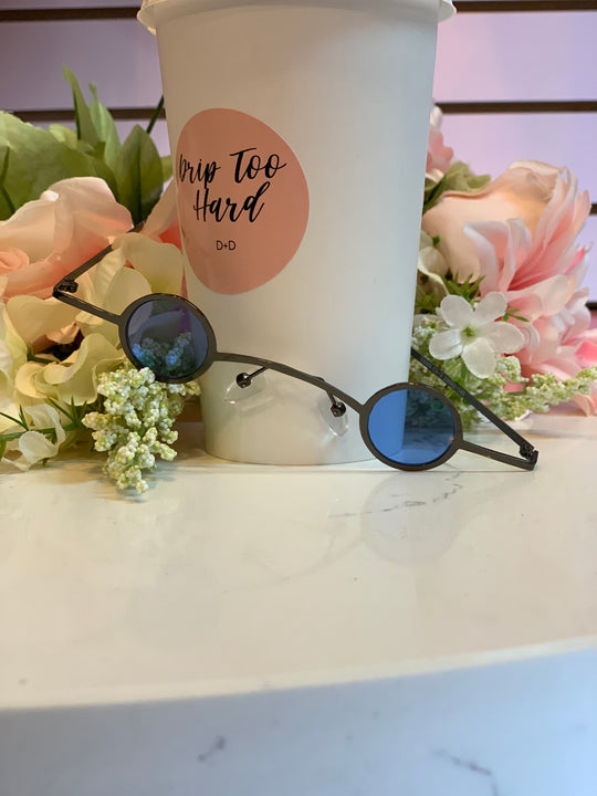 Black Frame - Blue Circle Shade Sunglasses