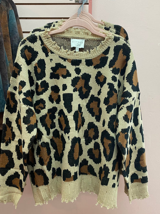 Distressed leopard print sweater