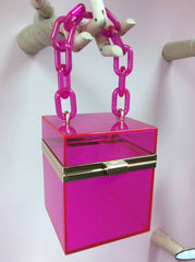 Hot pink box purse