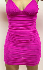 Meshin With Me Magenta Ruched Body Suit