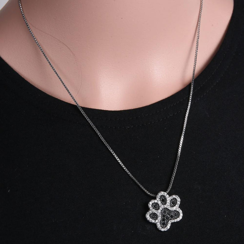 Silver/Black Paw Necklace - Pawhacks