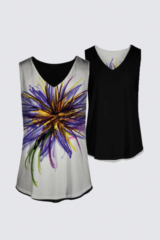 4-Way Reversible Purple Flower Women's Tank