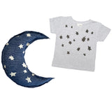 Infant gift combo- Blue moon pillow and infant crew tee star print