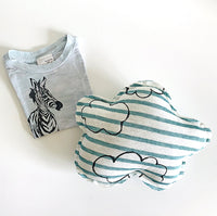 Infant gift combo- Small cloud pillow and short sleeve giraffe burn-out infant tee