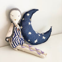 Crescent moon pillow- Star cluster print