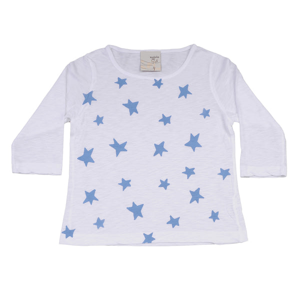 Long sleeve tee- Blue stars print