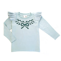 Long sleeve pleated sleeve tee- Ribbon wreath print