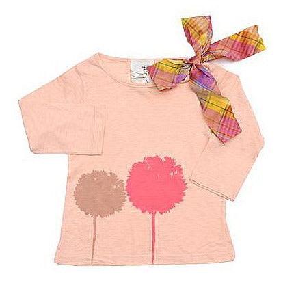 LS tee with taffeta ribbon- Floral silhouettes print