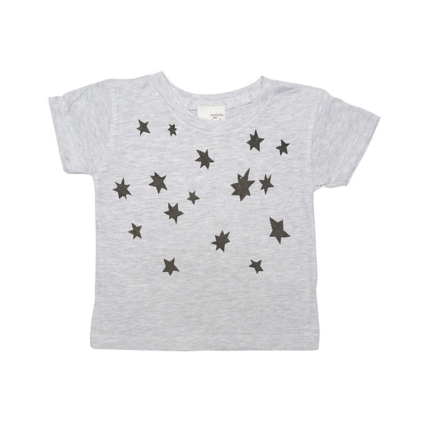 Heather grey baby tee- star cluster print