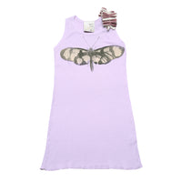 Tank dress with ruffle- Butterfly print