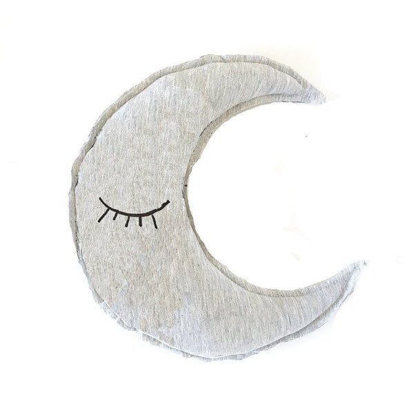 Organic moon shaped pillow - Sleeping eyes print