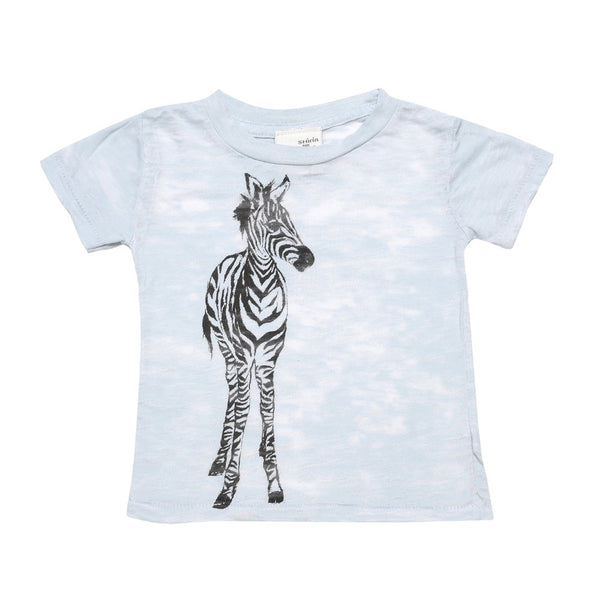Burn-out blue baby tee- Zebra print