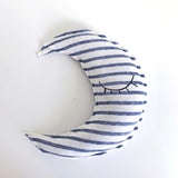 Crescent moon shaped striped pillow - Sleeping eyes print
