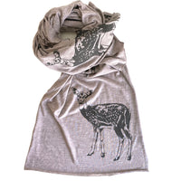 Lightweight raw edge scarf - Fawn print